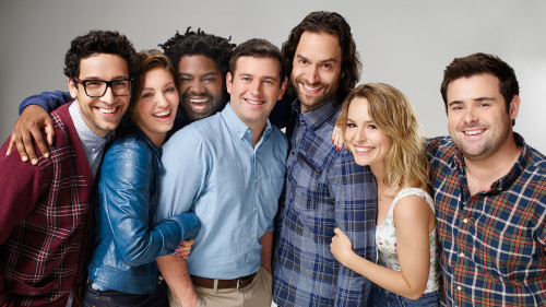 UNDATEABLE -- Season 3 -- Pictured (L-R): Rick Glassman as Burski, Bianca Kajlich as Leslie, Ron Funches as Shelly, Brent Morin as Justin, Chris D'Elia as Danny, Bridgit Mendler as Candace, and David Fynn as Brett -- Photo by Chris Haston/NBC.
