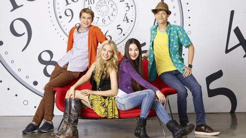 """BEST FRIENDS WHENEVER - Disney Channel's """"Best Friends Whenever"""" stars Gus Kamp as Barry, Lauren Taylor as Shelby, Landry Bender as Cyd and Ricky Garcia as Naldo. (Disney Channel/Craig Sjodin)"""