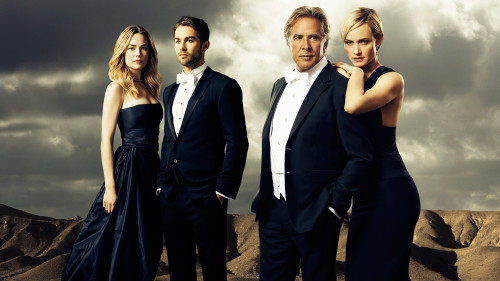 """BLOOD & OIL – ABC's """"Blood & Oil"""" stars Rebecca Rittenhouse as Cody Lefever, Chace Crawford as Billy Lefever, Don Johnson as Hap Briggs and Amber Valletta as Carla Briggs. (ABC/Kurt Iswarienko)"""