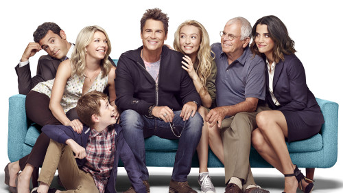 THE GRINDER: Pictured L-R: Fred Savage, Mary Elizabeth Ellis, Connor Kalopsis, Rob Lowe, Hana Hayes, William Devane and Natalie Morales. THE GRINDER premieres Tuesday, Sept. 29 (8:30-9:00 PM ET/PT) on FOX.  ©2015 Fox Broadcasting Company. Cr: Brian Bowen Smith/FOX