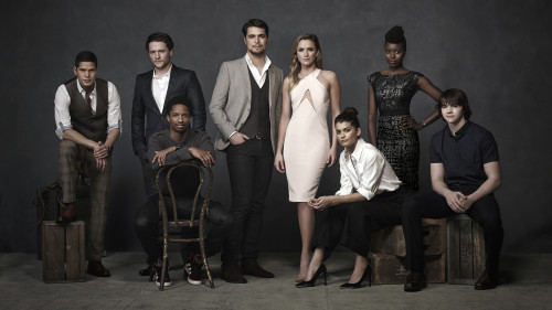 THE MESSENGERS – Season 1 – Image Number: MES1_0275.jpg – Pictured (L-R): JD Pardo, Jon Fletcher, Craig Frank, Diogo Morgado, Shantel VanSanten, Sofia Black-D'Elia, Anna Diop and Joel Courtney – Photo Credit: © 2015 Mathieu Young/The CW.