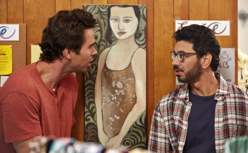 "ABOUT A BOY -- ""About an Angry Ex"" Episode 205 -- Pictured: (l-r) David Walton as Will Freeman, Al Madrigal as Andy -- (Photo by: Ben Cohen/NBC)"