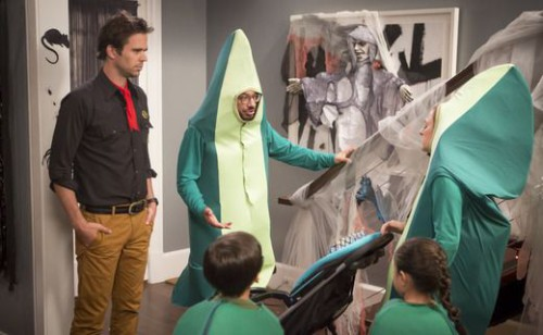 "ABOUT A BOY -- ""About a Will-O-Ween"" Episode 203 -- Pictured: (l-r) David Walton as Will Freeman, Al Madrigal as Andy, Annie Mumolo as Laurie -- (Photo by: Paul Drinkwater/NBC)"