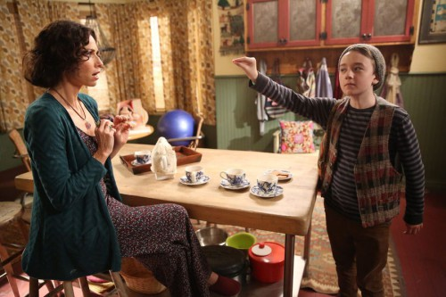 "ABOUT A BOY -- ""About a Hook"" Episode 211 -- Pictured: (l-r) Minnie Driver as Fiona, Benjamin Stockham as Marcus -- (Photo by: Jordin Althaus/NBC)"