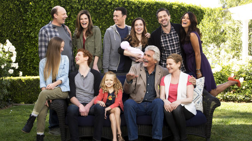 LIFE IN PIECES, airing Mondays 8:30-9:00 PM, ET/PT, is CBS's new single camera comedy about one big happy family and their sometimes awkward, often hilarious and ultimately beautiful milestone moments as told by its various members. Series moves to Thursdays 8:30-9:00 PM,ET/PT starting in November.  Pictured L-R, Top Row: Dan Bakkedahl as Tim, Betsy Brandt as Heather, Colin Hanks as Greg, Zoe Lister Jones as Jen, Thomas Sadoski as Matt and Angelique Cabral as Colleen; Pictured L-R, Bottom Row: Holly Barrett as Samantha, Niall Cunningham as Tyler, Giselle Eisenberg as Sophia, James Brolin as John and Diane Wiest as Joan. Photo Credit: © 2015 Cliff Lipson/CBS