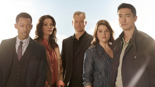 "CRIMINIAL MINDS: BEYOND BORDERS – CBS's ""Criminal Minds: Beyond Borders"" stars Tyler James Williams as Russ, Alana De La Garza as Clara, Gary Sinise as Jack, Annie Funke as Mae and Daniel Henney as Matthew. (ABC Studios/Kharen Hill)"
