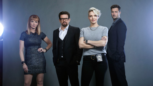 MOTIVE – Season 4 – Pictured (L-R): Lauren Holly as Dr. Betty Rogers, Louis Ferreira as Detective Oscar Vega, Kristin Lehmanas Detective Angie Flynn, and Brendan Penny as Detective Brian Lucas – Photo Credit: © 2015 Brendan Meadows/CTV. The series returns for its fourth and final season Tuesdays at 10 p.m. ET/PT beginning March 22 on CTV.