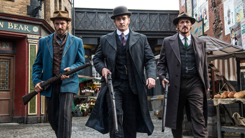 Programme Name: Ripper Street – Picture Shows: Homer Jackson (ADAM ROTHENBERG), Edmund Reid (MATTHEW MACFADYEN), Bennet Drake (JEROME FLYNN) – © Tiger Aspect 2014 – Photographer: Bernard Walsh.