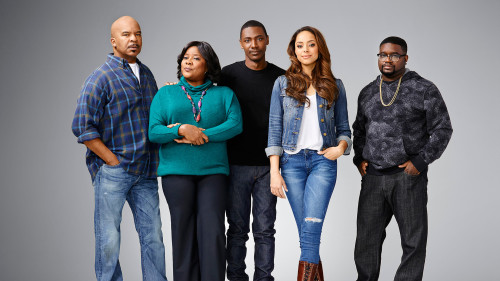 THE CARMICHAEL SHOW -- Season 1 -- Pictured (L-R): David Alan Grier as Joe Carmichael, Loretta Devine as Cynthia Carmichael, Jerrod Carmichael as Himself, Amber West as Maxine, Lil Rey Howery as Bobby Carmichael -- Photo by: Matthias Clamer/NBC.