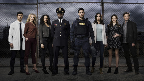 CONTAINMENT – Season 1 – Image ID: CON1_CastShot2_1743.jpg – Pictured (L-R): George Young as Dr. Victor Cannerts, Claudia Black as Dr. Sabine Lommers, Christina Moses as Jana, David Gyasi as Major Lex Carnahan, Chris Wood as Jake, Kristen Gutoskie as Katie, Hanna Mangan Lawrence as Teresa, and Trevor St. John as Leo – Photo Credit: © 2016 Justin Stephens/The CW.