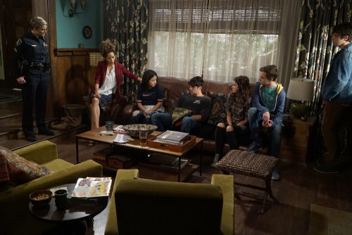 "THE FOSTERS - ""Safe"" - In the aftermath of the school lockdown, the family returns home where more secrets await, on an all-new episode of ""The Fosters,"" airing MONDAY, JUNE 27 (8:00 - 9:00 p.m. EDT), on Freeform. (Freeform/Eric McCandless) TERI POLO, SHERRI SAUM, CIERRA RAMIREZ, NOAH CENTINEO, MAIA MITCHELL, HAYDEN BYERLY, DAVID LAMBERT"