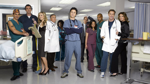 "SCRUBS - ""Scrubs"" stars Rob Maschio as ""The Todd,"" Neil Flynn as ""The Janitor,"" Sarah Chalke as ""Elliot Reid,"" Ken Jenkins as ""Dr. Bob Kelso,"" Aloma Wright as ""Nurse Roberts,"" Zach Braff as ""John 'J.D.' Dorian,"" Sam Lloyd as ""Ted,"" Donald Faison as ""Chris Turk,"" Judy Reyes as ""Nurse Carla Espinosa,"" John C. McGinley as ""Dr. Phil Cox"" and Christa Miller as ""Jordan.""  (TOUCHSTONE TV/MITCH HAASETH)"