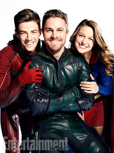 DC Superheroes L to R: Melissa Benoist (Supergirl), Stephen Amell (Green Arrow) and Grant Gustin (The Flash)  Vancouver, British Columbia, Canada - October, 27, 2016 Photograph by Art Streiber Gustin's Costumer: Elizabeth 'Betty' Dubney; Hair: Sarah Koppes; Makeup: Tina Teoli; Amell's Costumer: Mary Hyde Kerr; Hair: Paul J. Edwards; Makeup: Tanya Howard; Benoist's Costumer: Nicole Bobick; Hair: Lisa Leonard; Makeup: Danielle Fowler; Producer: Adele Thomas Productions