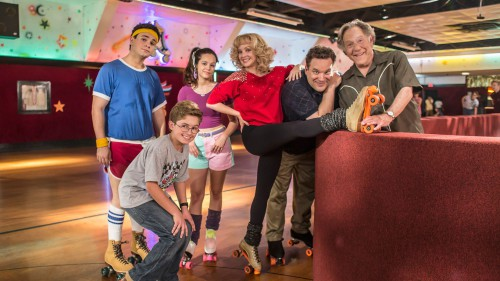 """THE GOLDBERGS – """"Daddy Daughter Day"""" – Just as a new school year begins, Murray and Erica's family tradition of spending the first Saturday together roller-skating is in jeopardy since Erica has turned into a moody teenager and believes the activity is juvenile. Once at the rink, things take a turn for the worse that neither father nor daughter could have foreseen. Meanwhile, Beverly takes Adam shopping for new school clothes and is dismayed when Pops has other plans, on """"The Goldbergs,"""" TUESDAY, OCTOBER 1 (9:01-9:31 p.m., ET) on the ABC Television Network. (ABC/Ron Batzdorff) TROY GENTILE, SEAN GIAMBRONE, HAYLEY ORRANTIA, WENDI MCLENDON-COVEY, JEFF GARLIN, GEORGE SEGAL"""